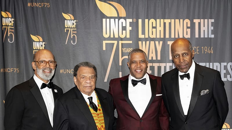 Group shot of Michael Lomax, Andrew Young, Robert Smith and Vernon Jordan at UNCF 75th anniversary gala
