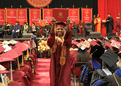 Pictures of students at college graduation ceremony