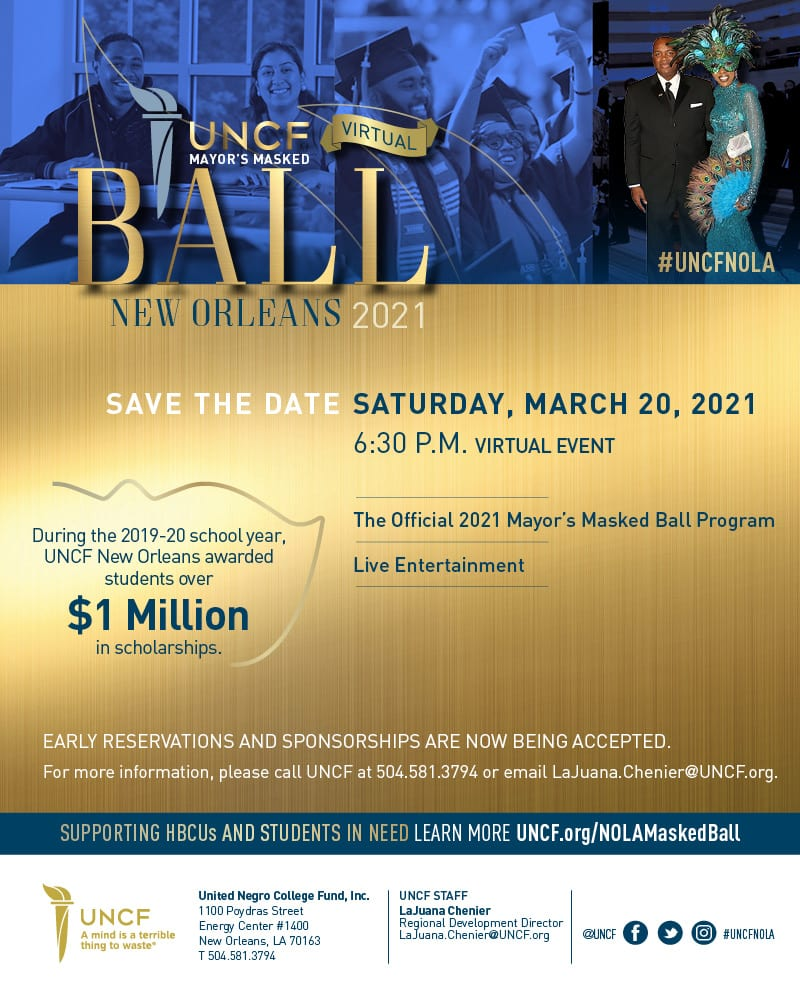 2021 UNCF Virtual Mayor's Masked Ball – New Orleans