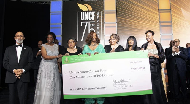 AKA presents check during 75th Gala