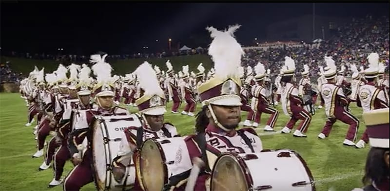 Bethune Cookman marching band performing at football game