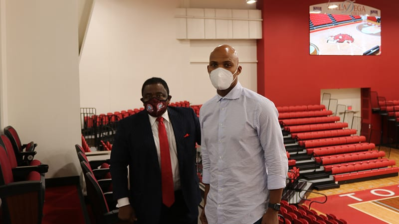 doctor hawkins and doctor felton in the billy c. hawkins student activity center