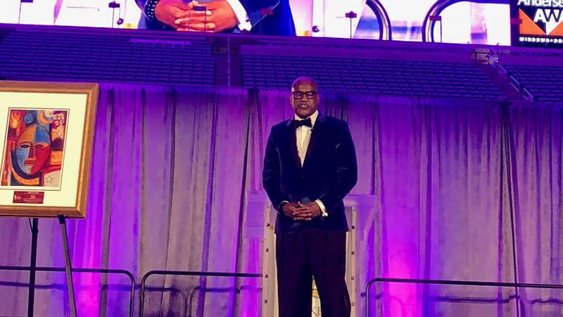 Greg Cunningham Presenting at Minneapolis Masked Ball Award Ceremony