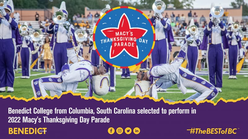 Macy's Day Parade logo overtop a photo of Benedict College marching band