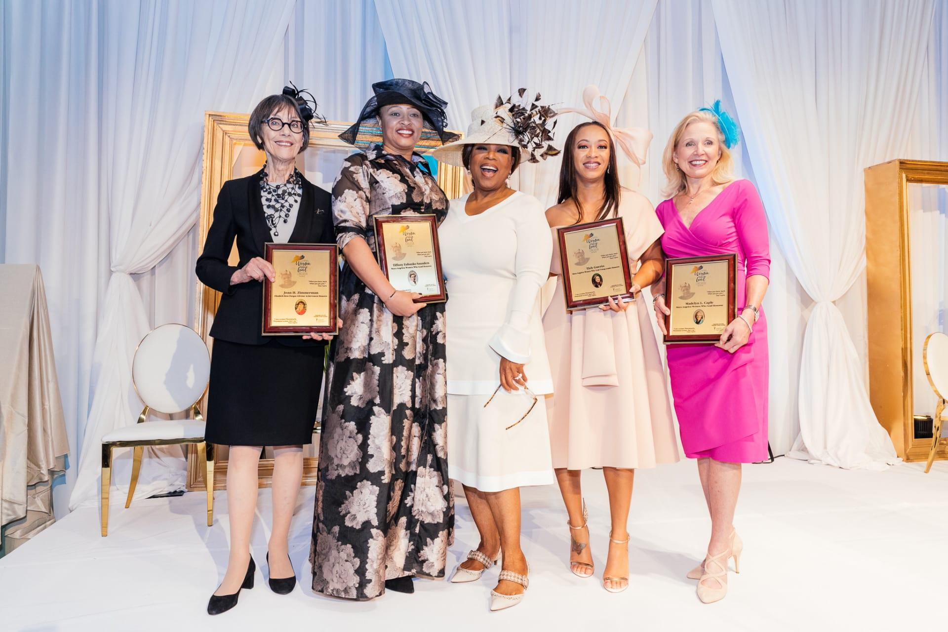 Maya Angelou Women Who Lead honorees - Joan Zimmerman, Tiffany Eubanks-Saunders, Oprah Winfrey, Tish Guerin and Madelyn Caple - Photo by Keyna B