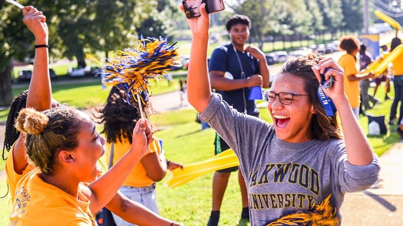 Oakwood University students cheering during pep rally