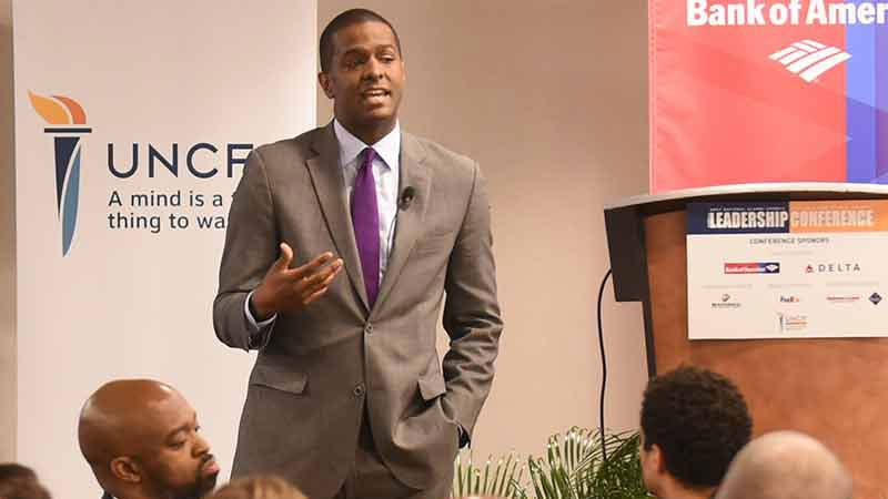 Bakari Sellers speaking at UNCF National Alumni Council conference