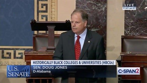 Senator Doug Jones speaking on Senate floor about passage of the Protecting Our Future Act
