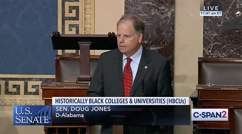 Senator Doug Jones speaking on Senate floor about passage of the Protecting Our Future Act