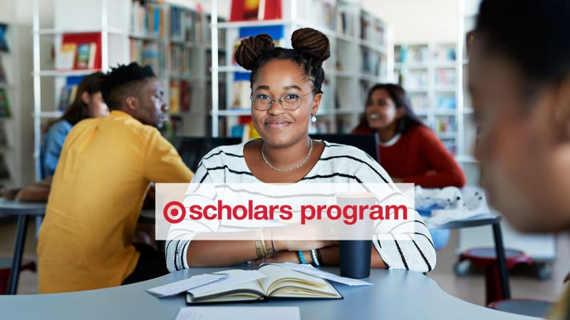 Target Scholars banner image female student with logo