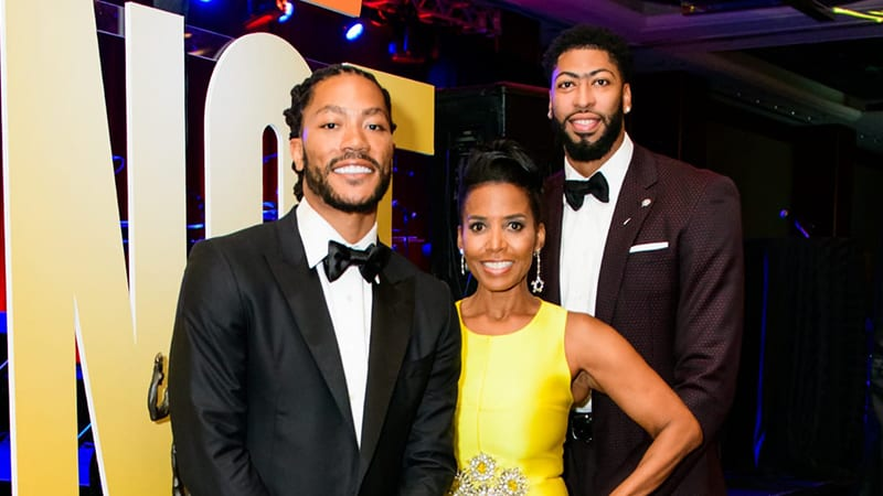 """NBA Players and UNCF """"A Mind Is…"""" Gala co-chairs Darrick Rose, Anthony Davis and Toi Salter"""