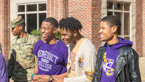 4 male students outdoors at Benedict College campus