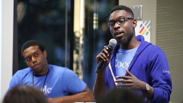 Two Google employees speak to UNCF HBCU Innovation Summit participants