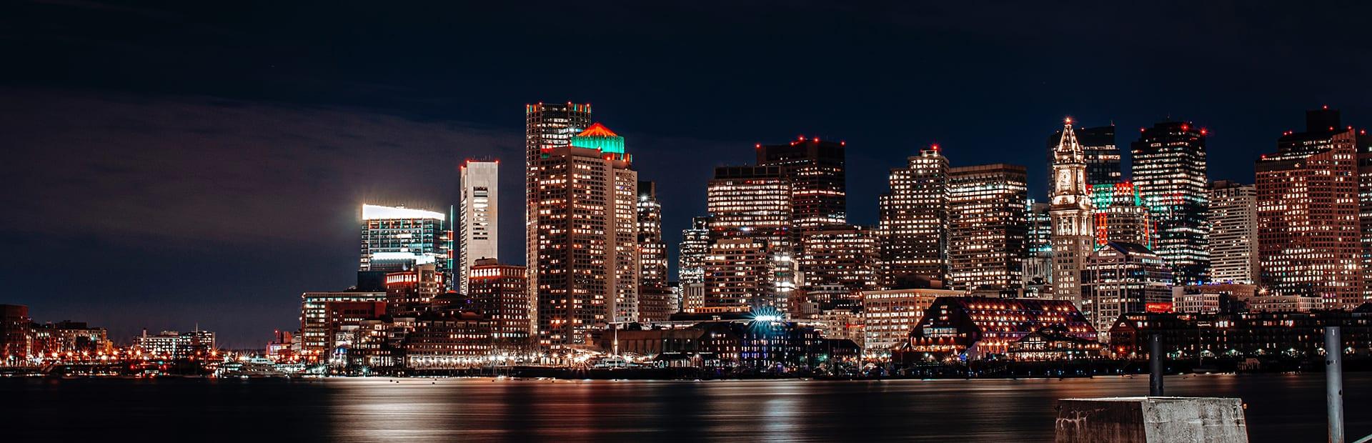 Photo of Boston skyline at night