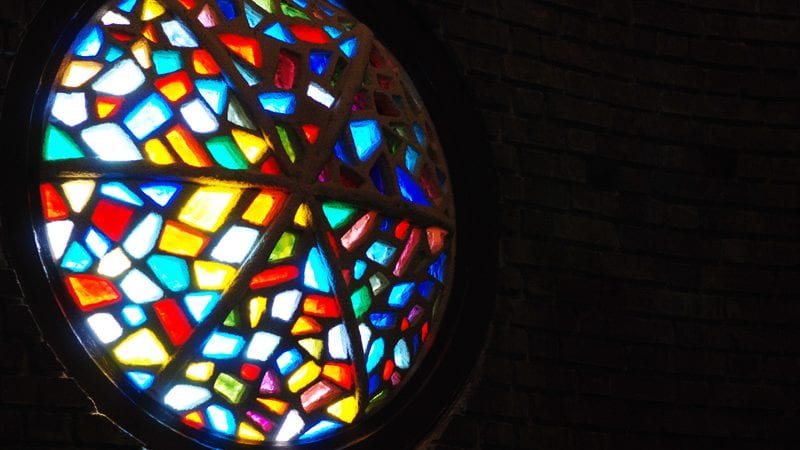 Picture of stained glass window in silhouette