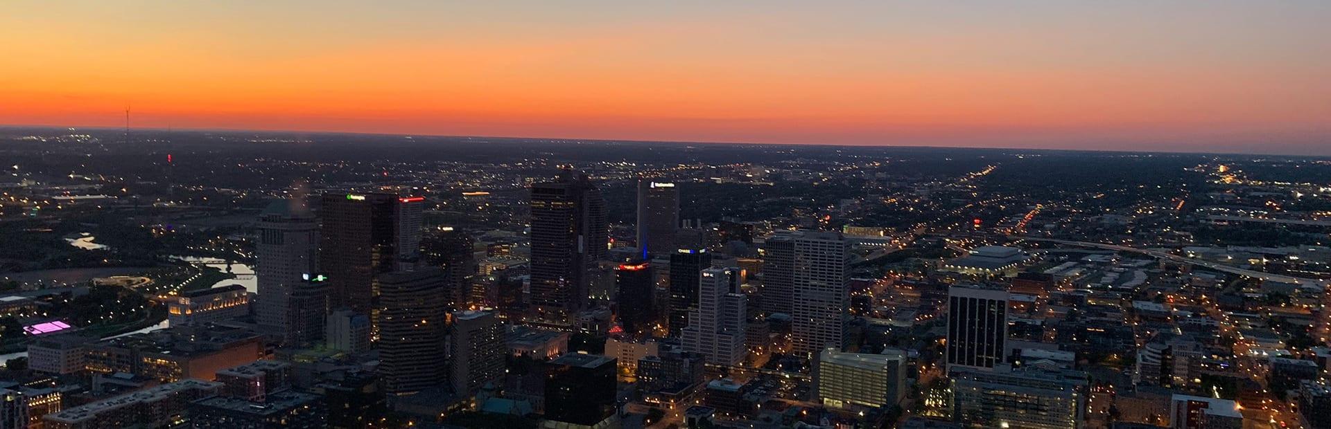 Aerial shot of Columbus, Ohio at dusk
