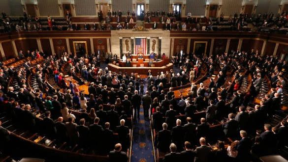 Banner image of Congress in session in House of Representatives Chamber