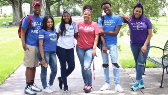 6 Dillard University students outside on campus