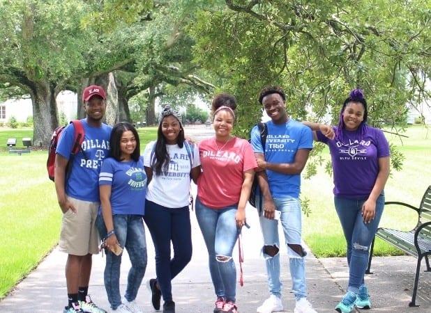6 Dillard University students outside on campus