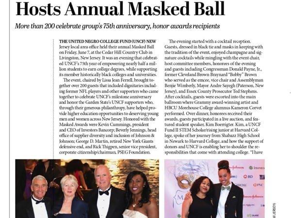 UNCF Annual 75th Anniversary Masked Ball Newspaper Clipping