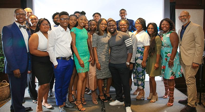 Group shot of Help from the Hart students with Kevin Hart and Michael Lomax