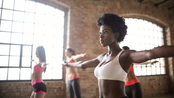An african american female participating in a fitness program