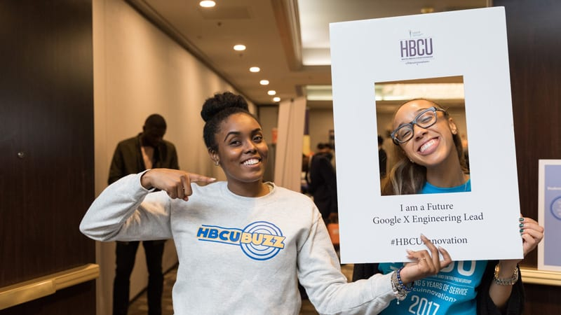 Two HBCU Innovation attendees using social media frames