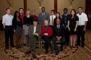 Group shot of Gates Millennium Scholars Program students with Bill Gates Senior and Michael Lomax