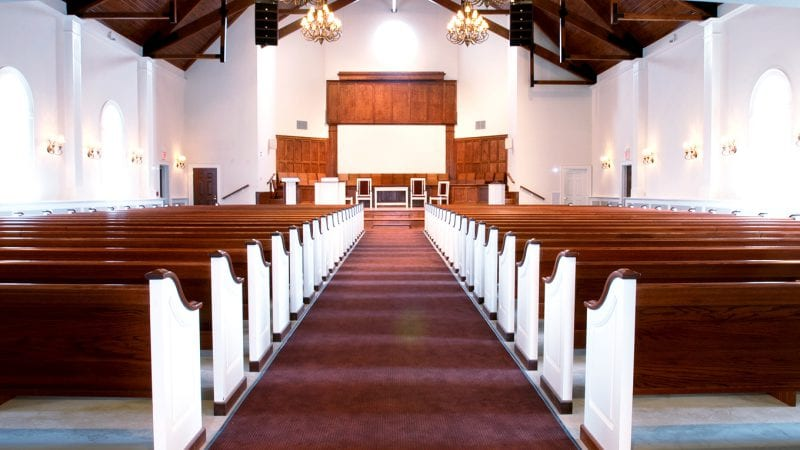 Interior of Claflin University's James and Dorothy Z. Elmore Chapel