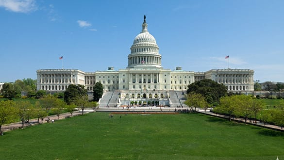 Exterior view of U.S. capitol building