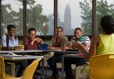 Johnson C. Smith University students talking during classroom discussion
