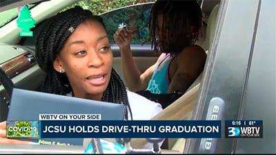 JCSU student in car receives diploma
