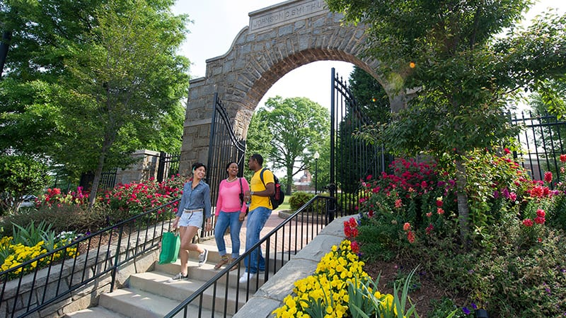 students at jcsu campus in spring