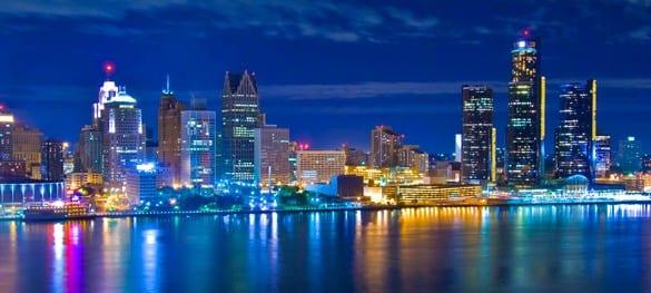 Skyline of city of Detroit