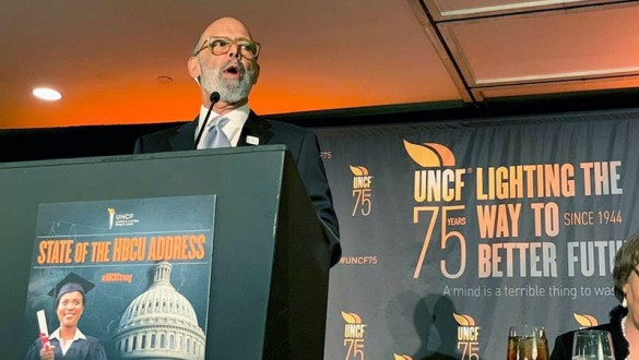 Michael Lomax speaking during state of HBCU address