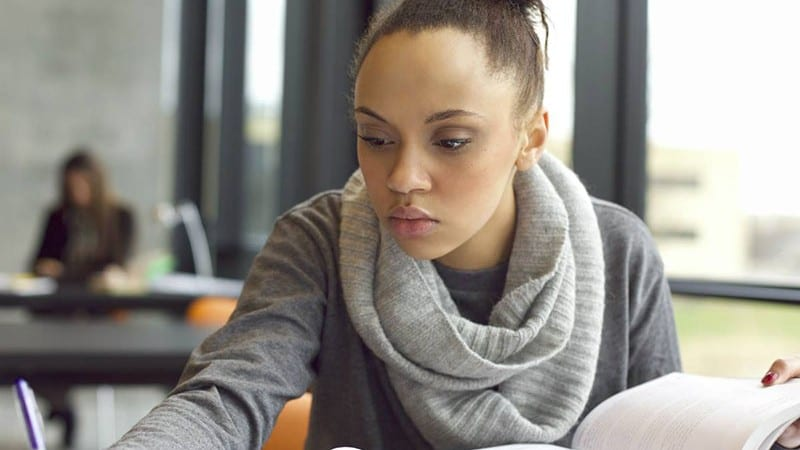 Female student studying at Claflin University