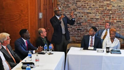SC Congressman James Clyburn makes a point during panel discussion about entrepreneurship at Claflin University.