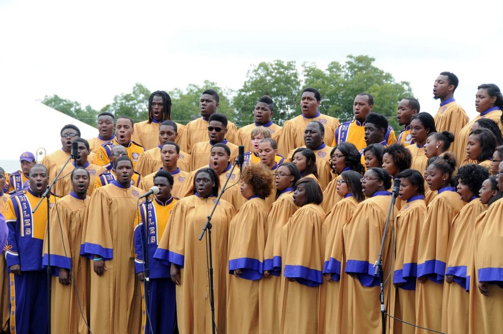 Large group shot of Miles College choir performing
