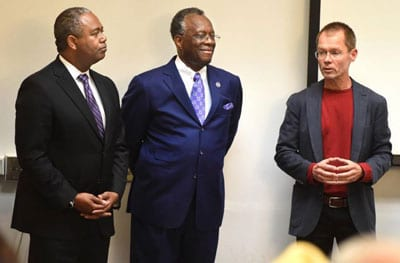 From left, Augusta Mayor Hardie Davis, Paine College President Hardee and donor Peter Knox.