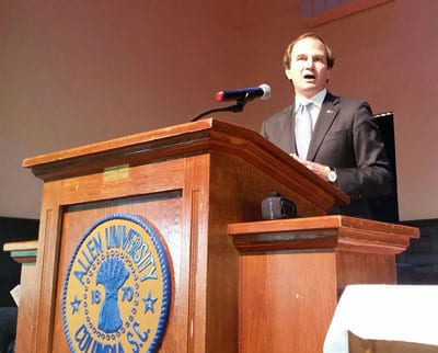 Assistant U.S. Attorney Jay Richardson, who prosecuted Dylann Roof in federal court, was the guest speaker at the Mother Emanuel Nine Day Remembrance at Allen University on June 1.