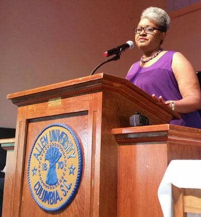 District 70 state Rep. Wendy Brawley was among the speakers at the Mother Emanuel Nine Day Remembrance at Allen University on June 1.