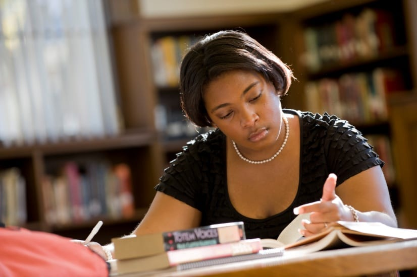 Bennett College student studying in library