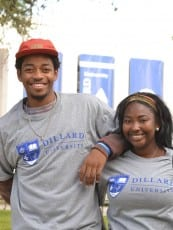 Male and female Dillard University students outside on campus