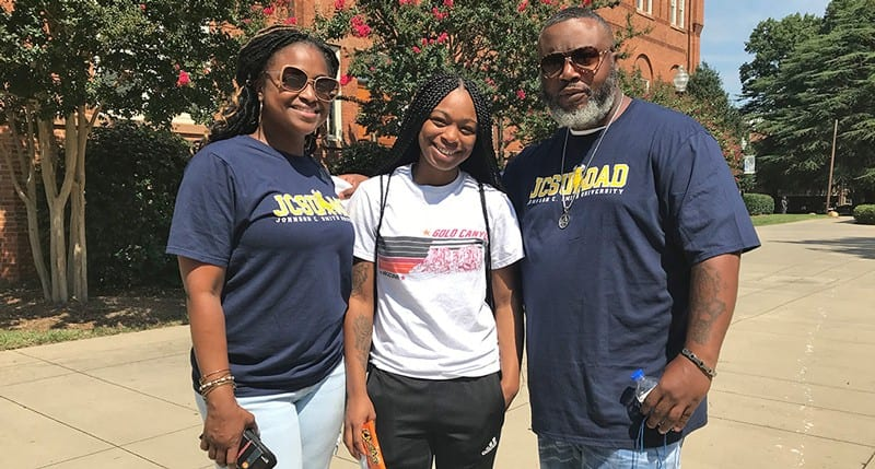 Mom and dad with Johnson C. Smith University daughter student