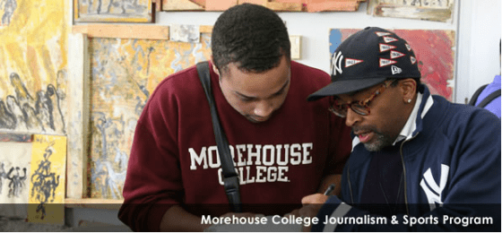 Morehouse College student talking to Spike Lee