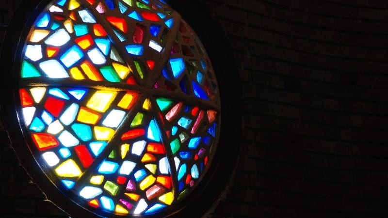 Picture of a stained glass window in Stillman College chapel
