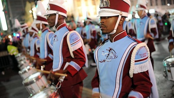 Group shot of Talladega College marching band members performing