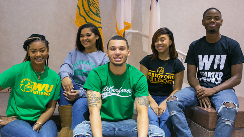 Group shot of 5 Wilberforce University students