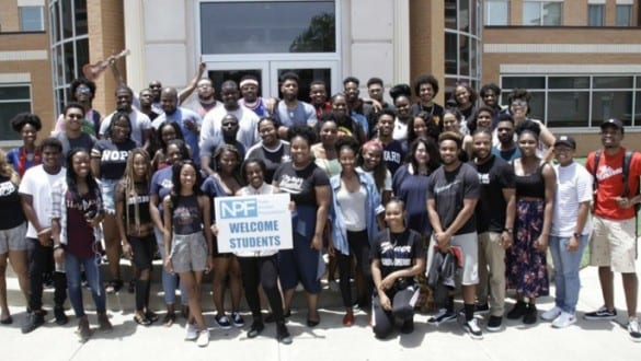 Large group shot of students at Nate Parker Foundation event at Wiley College