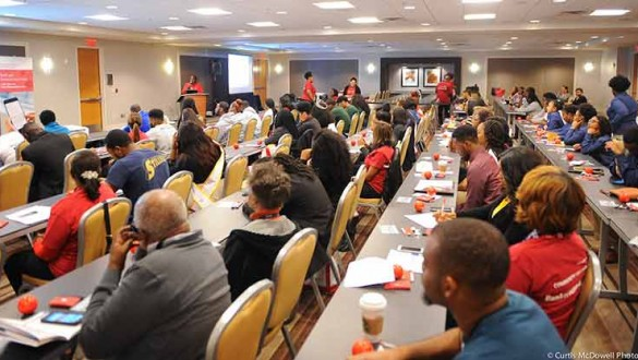 Large group of attendees listen during UNCF National Alumni Council Conference